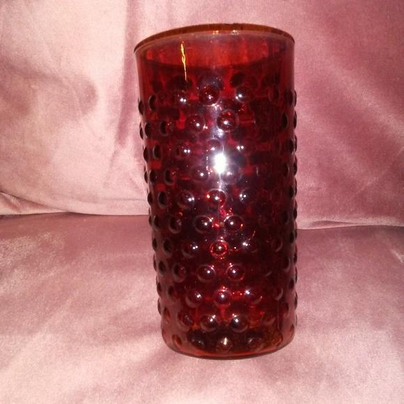 ⚡3/$10⚡ Ruby Red Vintage Hobnail Juice Glass